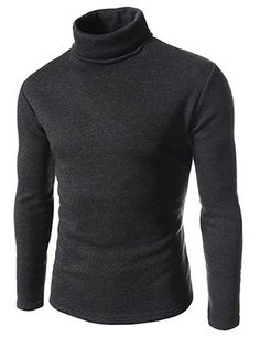 (CAL04-CHARCOAL) Slim Fit Napping Long Sleeve Turtle Neck Tshirts