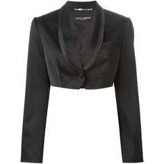 Dolce & Gabbana Vintage cropped tuxedo blazer ($419) ❤ liked on Polyvore featuring outerwear, jackets, blazers, black, cropped tuxedo jacket, cropped blazer, dinner jacket, vintage shawl and long sleeve jacket