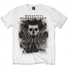Tricou Bullet For My Valentine: Snakes & Skull - MetalHead Merch Bullet For My Valentine, Mens Tees, Shirt Outfit, Black And Grey, Tee Shirts, Skull, Short Sleeves, Snakes, Cotton