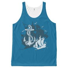 Pirate Ship & Anchor White Silhouette Tank Top All-Over Print | Customize with your choice of background color.