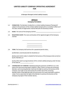 Customizable Form Templates Operating Operating Agreement