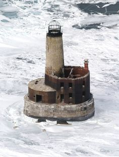 The abandoned Waugoshance Lighthouse in Mackinaw City, Michigan. Built in 1851