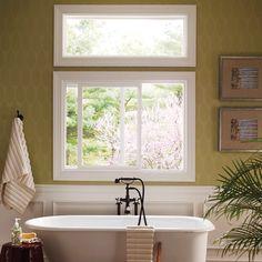 Pella® 350 Series Sliding window - traditional - bathroom - Pella Windows and Doors Wainscoting Bedroom, Dining Room Wainscoting, Wainscoting Styles, Painted Wainscoting, Wainscoting Panels, Bathroom Window Treatments, Bathroom Windows, Sliding Windows, Windows And Doors