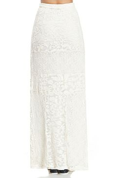 GYPSY05 Inanna Embroidered Panel Maxi Skirt in Ivory XS - L | DAILYLOOK
