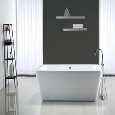 Create a striking focal point in your bathroom with this modern acrylic freestanding bathtub. This tub has a sleek design and defined lines to complement your decor and make your bathroom seem more spacious.
