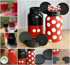 DIY Mickey and Minnie Mouse Jars. Great for Party Theme props, Kids room, Kitchen or just (candy treat) decoration.