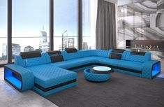 Wohnlandschaft »Berlin«, U Form XXL Red Leather Sectional, Sofas, Outdoor Furniture Sets, Outdoor Decor, Furniture Design, Couch, Living Room, Bed, Colors