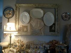 Love the platters hung in the frame ! (from Welcome to Glory B's Cottage....)