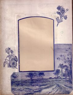 Lovely Blue Printed Page from Victorian Photo Album from tomjudy on Ruby Lane