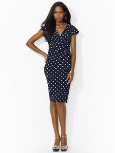 Polka-Dot Jersey Dress - Mid Length Dresses Dresses - Ralph Lauren UK