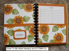 CTMH Card Organizer October by - Cards and Paper Crafts at Splitcoaststampers Greeting Card Organizer, Sunflower Garden, Arts And Crafts, Paper Crafts, Close To My Heart, Organizers, Card Ideas, Stamps, Calendar