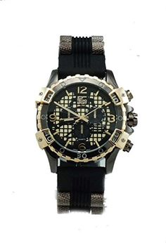 Mens Diver Look Stainless Steel Barrerl Insert Black Rubber WatchGold Tone * Want additional info? Click on the image.