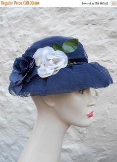 Vintage Hat Navy Blue Hat Vintage 1950s Tulle Mesh Womens Vintage Hat  Flower Velvet Ribbon Trim Vintage Wedding Sculpted 21-22