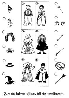 * Zet de juiste cijfers ... Educational Activities, Mardi Gras, Kindergarten, Crafts For Kids, Halloween, School, Album, Index Cards, Activities