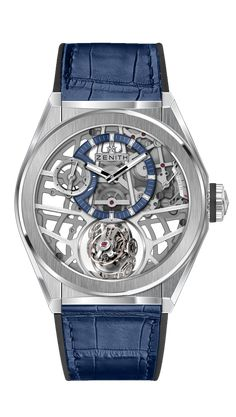 Zenith Defy Zero G with (44 mm) titanium case shown with rubber strap coated with blue alligator leather. For more information, visit us at WatchTime.com. #zenithwatches #watchtime #skeletonwatch #skeletonwatches #watchnerd #Baselword2018