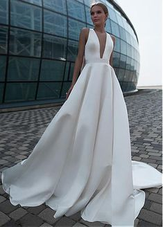 Simple Wedding Dresses, Modest Satin Jewel Neckline Cut-out Back Full-length A-line Wedding Dress With Bowknots MagBridal How To Dress For A Wedding, Classic Wedding Dress, Wedding Dresses Plus Size, Modest Wedding Dresses, Bridal Dresses, Simple Classy Wedding Dress, Bow Wedding, Weeding Dress, Wedding Rings