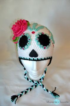 Ready to ship unique sugar skull crochet hat by MamzelleSemmele