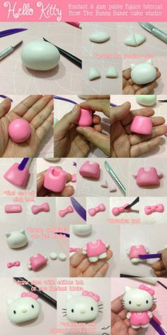 DIY fondant and gum paste Hello Kitty with Step-by-Step Tutorial Hello Kitty Torte, Bolo Da Hello Kitty, Hello Kitty Fondant, Hello Kitty Cupcakes, Hello Kitty Birthday Cake, Fondant Toppers, Fondant Cakes, Fondant Bow, Fondant Flowers