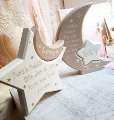 Wooden Art, Wooden Crafts, Fun Crafts, Diy And Crafts, Christening Decorations, Getting Ready For Baby, Twinkle Twinkle Little Star, Niece And Nephew, Diy For Kids