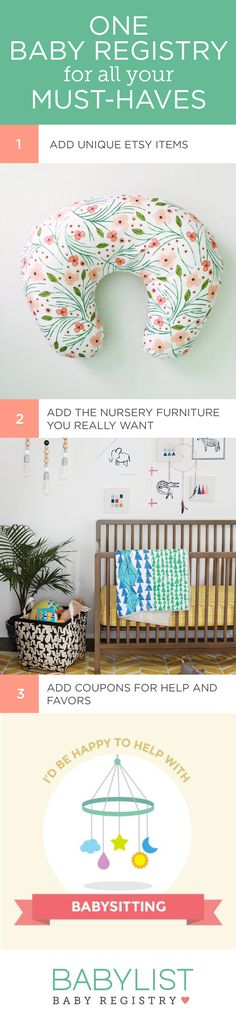 You can add any item from any store to your baby registry with Babylist. Literally anything - even Etsy items, baby sitting, or home-cooled meals! It's easy, beautiful & FREE. BabyList works just like Pinterest. Simple enough for the grandparents-to-be too.