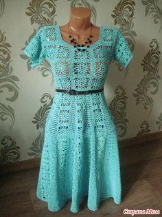 """Летнее платье (44 размер) было выполнено на заказ. Сочетание мотивов и филейной сетки. Платье рассчитано носить с подкладом. Пряжа """"СОСО""""Vita Cotton (50гр/240м) - расход 14 мотков(+/-)."""