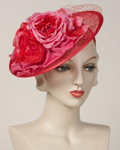 Whimsy, fuchsia, sinamay base with silk roses & silk ribbon edge                                                                                                                                                                                 More