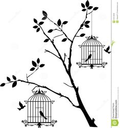 Tree Silhouette With Birds Flying And Bird In A Cage Royalty Free ...