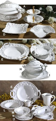 Intrada Italy Ceramics - Baroque Dinnerware Collection. Available in 7 colors. Made in Italy.