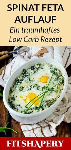 Dieser Low Carb Spinat Feta Auflauf ist gesund und eignet sich bestens zum Abnehmen. Hier findest du das komplette Rezept für deine kohlenhydratreduzierte Diät und viele Tipps für den Fettabbau. #ernährung #abnehmen #diät #rezept