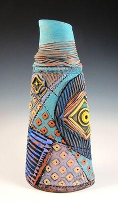 Blue Vase, earthenware with underglazes, METaylor