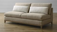 Taraval Armless Loveseat with Oak Base | Crate and Barrel