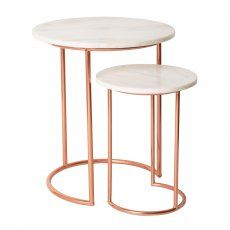 Buy the White Muse Marble & Copper Nesting Tables at Oliver Bonas. We deliver Furniture throughout the UK within working days from Copper And Marble, Rose Gold Marble, Marble Top, White Marble, Unique Coffee Table, Round Coffee Table, Copper Coffee Table, Marble Collection, Rose Gold Decor