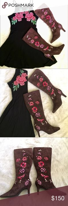 🎉HP Diane V Furstenberg Embroidered Leather Boots Diane Von Furstenberg Festival Leather Calf High Cowgirl Boots Brown with Embroidered Floral Print - Perfect for Coachella &  Stagecoach!  90's Vintage High Heeled Boots, Upper Embroidered With Pink, Burgundy, Lavender And Purple Flowers. Inner side zipper from foot to top of shoe. Elastic material on inner upper end of boot to allow for some stretch. Size 8W. 3 Inch Heel. Imported. Perfect condition, never worn! Catalog # 915128 'Silk…