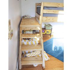 Custom Made All Size Angled Stairs (USM). Custom Made All Size Angled Stairs (USM) - More Than A Furniture Store. Make it easy to climb in and out of your Bunk or Loft Bed with this handy, custom made stair unit. Comes as an easy to assemble kit. Toddler Loft Beds, Kids Bunk Beds, Boy Toddler, White Loft Bed, White Bedroom, Diy Bett, Bunk Beds With Stairs, Loft Bed Stairs, Bunk Bed Designs