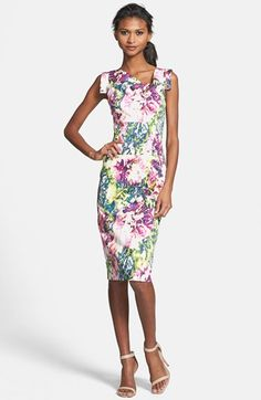 Black Halo Floral Print Stretch Sheath Dress available at #Nordstrom