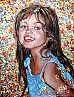 Girls Portrait by Ivona Torovin. Pointilism, Oil on Canvas. £180