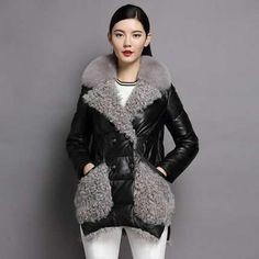 Куртка - пуховик из натуральной кожи с мехом