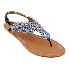 """Beaded thong 1/4"""" sandal.  Adjustable buckle closure.  Rubber sole."""