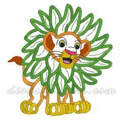 Lion King Simba with Leaves Lion Tarzan Machine Applique $4.00