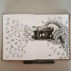Ink Drawings Mostly in Space Space Drawings, Girly Drawings, Sketchbook Drawings, Pencil Art Drawings, Drawing Sketches, Cool Drawings, Ink Illustrations, Pen Illustration, Stylo Art
