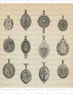 antique lockets - Google Search Antique Locket, Vintage Lockets, Antique Jewelry, Vintage Jewelry, Jewelry Illustration, Ink Illustrations, Victorian Books, Jewelry Ads, Jewellery Sketches