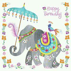 Happy birthday - elephant and birdy Happy Birthday Elephant, Happy Birthday Tag, Birthday Wishes Quotes, Happy Birthday Images, Happy Birthday Greetings, Birthday Messages, Birthday Pictures, Birthday Humorous, Birthdays