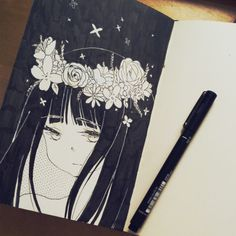drawing Black and White anime manga ink Sketch doodle sketchbook drew this in a cafe