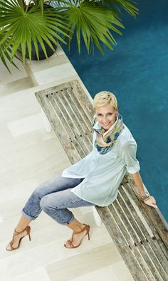 Your new go-to top has arrived. Our Simple Stripe Shirt combines the versatility of a solid with the personality of a print. Chicos Fashion, 50 Fashion, Fashion Dresses, Fashion Ideas, Fashion Over Fifty, Fashion For Women Over 40, Stylish Clothes For Women, How To Wear Scarves, Types Of Fashion Styles