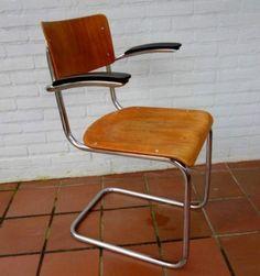 Retro vintage buisframe stoel jaren 30 industrieel , plywood