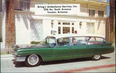 Cadillac Ambulance postcard green