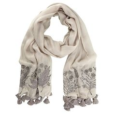 Mint Velvet Embroidered Scarf, Stone