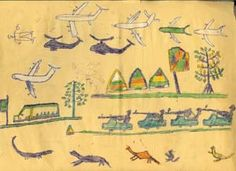 Children's Drawings from Darfur, show an overwhelming onslaught of machine and man power. Even the animals are running