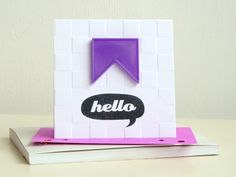Mixing a chequerboard embossing folder [from @docrafts team] with a plastic puzzle-piece for a clean, graphic, greeting.