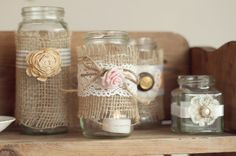 Sweet decorated jam jars custom made at Rosie Loves Vintage for your wedding! even use as favours as well? Jam Jar Crafts, Baby Food Jar Crafts, Bottles And Jars, Glass Jars, Xmas Wedding Ideas, Trendy Wedding, Jam Wedding Favors, Rustic Centerpieces, Purple Centerpiece